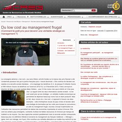 Du low cost au management frugal