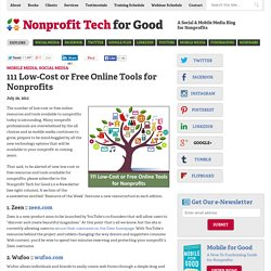 111 Low-Cost or Free Online Tools for Nonprofits