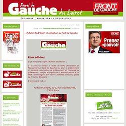 Bulletin d'adhésion et cotisation au Parti de Gauche - Parti de Gauche du Loiret : Ecologie - Socialisme - République