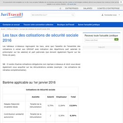 Les taux des cotisations de sécurité sociale 2016