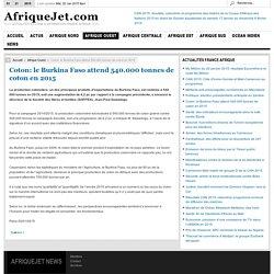 Coton: le Burkina Faso attend 540.000 tonnes de coton en 2015