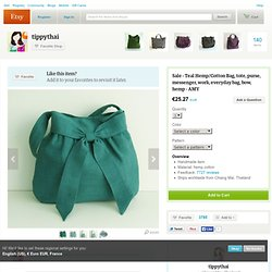 Teal Hemp/Cotton Bag Half Bow by tippythai