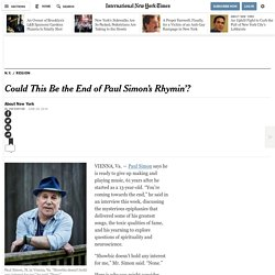 Could This Be the End of Paul Simon's Rhymin'?
