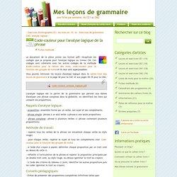 Code-couleur pour l'analyse logique de la phrase - Mes leçons de grammaire