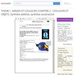 THEME I : IMAGES ET COULEURS CHAPITRE 2 : COULEURS ET OBJETS. Synthèse additive, synthèse soustractive