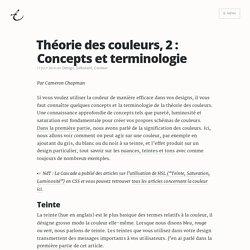 Théorie des couleurs, 2 : Concepts et terminologie