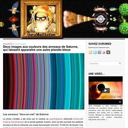 Deux images aux couleurs des anneaux de Saturne, qui laissent apparaitre une autre planète bleue