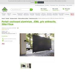 Portail coulissant aluminium, JENA, gris anthracite, 350x170cm
