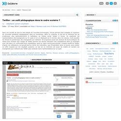 Leclerc-Coulmain Stéphanie, Twitter : un outil pédagogique dans le cadre scolaire ?