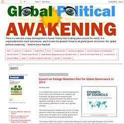 Council on Foreign Relations Plan for Global Governance in 2013
