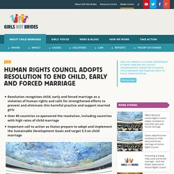 Human Rights Council adopts resolution to end child, early and forced marriage