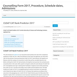 Counselling Form 2017, Procedure, Schedule dates, Admissions