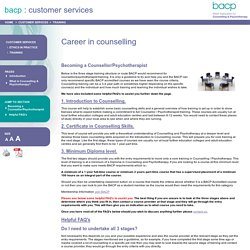 Career in counselling - BACP Customer Services