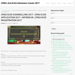CRSU B.ED REGISTRATION 2017