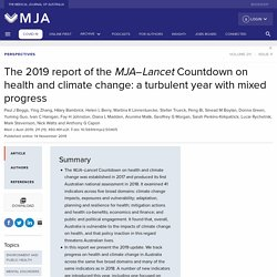 The 2019 report of the MJA–Lancet Countdown on health and climate change: a turbulent year with mixed progress