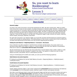 Bean Counter So, you want to learn Bookkeeping- Lesson 5