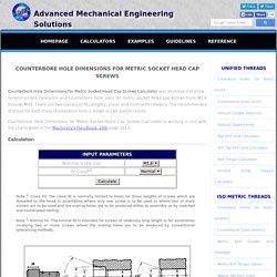 Counterbore Hole Dimensions for Metric Socket Head Cap Screws