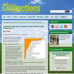 Countering the Big Bucks Campaign to Defeat California's GMO Labeling Prop 37
