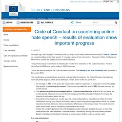 JUST Newsroom - Code of Conduct on countering online hate speech – results of evaluation show important progress