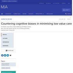 Countering cognitive biases in minimising low value care