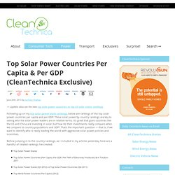 Top Solar Power Countries Per Capita & Per GDP (CleanTechnica Exclusive)