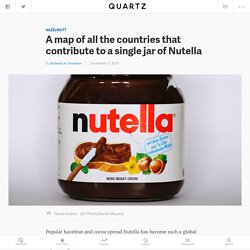 QZ A map of all the countries that contribute to a single jar of Nutella