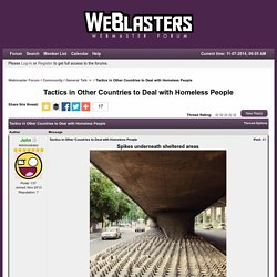 Tactics in Other Countries to Deal with Homeless People - Webmaster Forum