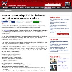 20 countries to adopt PHL initiatives to protect women, overseas workers