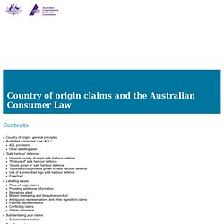 Country of origin claims and the Australian Consumer Law