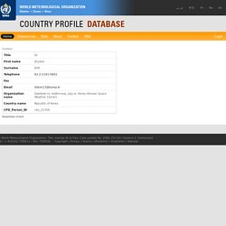 WMO Country Profile Database - Contacts