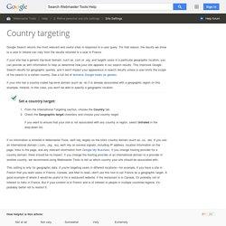 Ausrichtung auf Zielländer - Webmaster-Tools-Hilfe