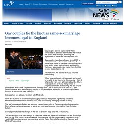 Gay couples tie the knot as same-sex marriage becomes legal in England:Saturday 29 March 2014