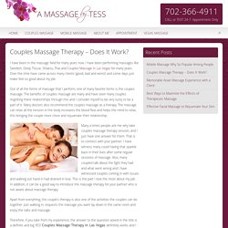 Couples Massage Therapy – Does It Work?