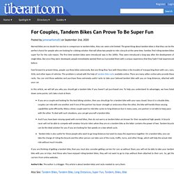 For Couples, Tandem Bikes Can Prove To Be Super Fun