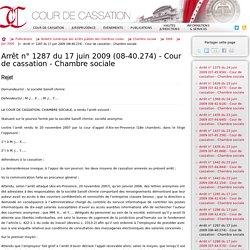 Arrêt n° 1287 du 17 juin 2009 (08-40.274) - Cour de cassation - Chambre sociale