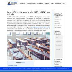 Cours BTS NDRC : tous les cours en détails !