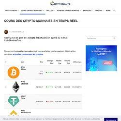 Cours Crypto-monnaies en temps réel - EUR / USD