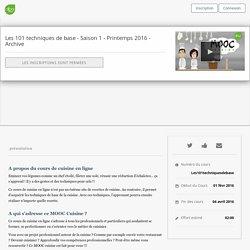 """Cours de cuisine en ligne MOOC AFPA """"techniques de base en cuisine"""" fev 2016"""