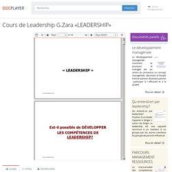 Cours de Leadership G.Zara «LEADERSHIP»