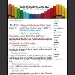 Cours de deuxième année GEA - Droit du travail