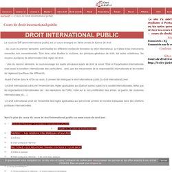 Cours de droit international public - Cours de droit