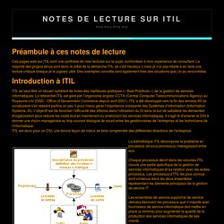 Cours ITIL : Introduction à ITIL par Philippe Ris
