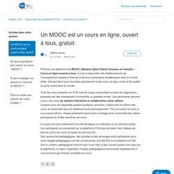 Un MOOC est un cours en ligne, ouvert à tous, gratuit – Support FUN