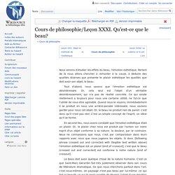 Cours de philosophie/Leçon XXXI. Qu'est-ce que le beau?