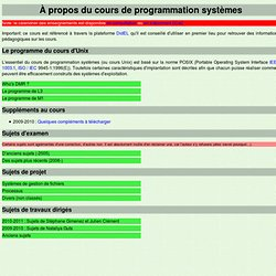 Cours de Programmation Systèmes - UNIX
