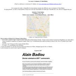 Les cours et séminaires d'Alain Badiou