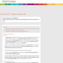 Cours de SVT 3e - Homme et biodiversité