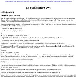 Cours utilisateur UNIX : La commande awk