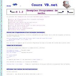 Cours Visual Basic .NET exemple