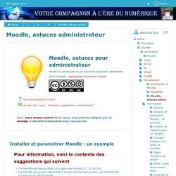 Course: Moodle, astuces administrateur